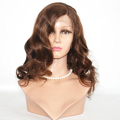 Ekte hår Helblonde Blonde Forside Parykk Krop Bølge 130% tetthet 100 % håndknyttet Afroamerikansk parykk Naturlig hårlinje Ombre-hår Kort