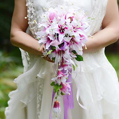 Hochzeitsblumen Freigeformt Wasserfall Lilien Sträuße Hochzeit Partei / Abend Satin Seide