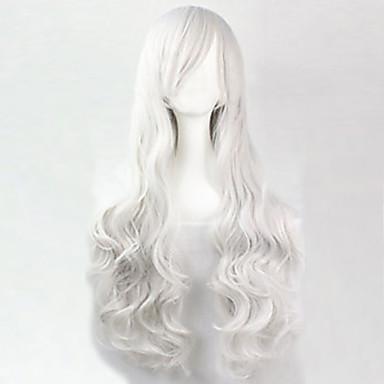 Syntetiske parykker Krøllet / Løse bølger / Naturlige bølger Syntetisk hår 25 tommers Parykk Dame Lang Hvit