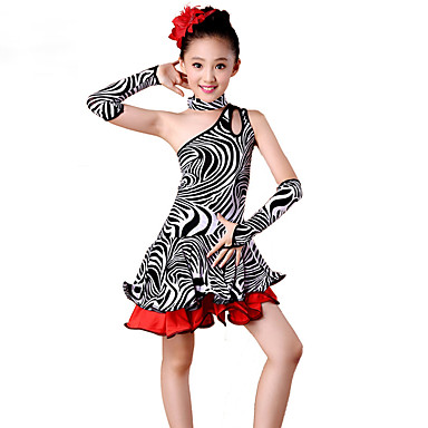 Dança Latina Vestidos Crianças Actuação Elastano Poliéster Estampa Animal 4 Peças Sem Mangas Alto Vestido Luvas Neckwear