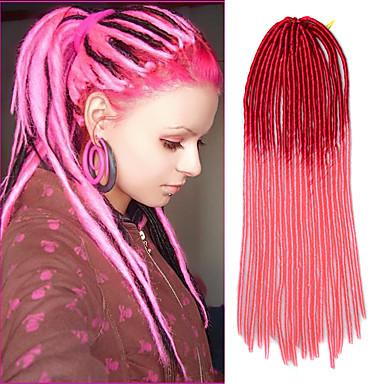 cabelo de crochê trança macio dreadlock havana mambo torção trança ombre rosa vermelha de 20 polegadas