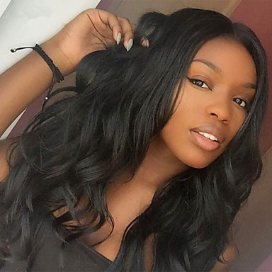 Damen Echthaar Perücken mit Spitze Echthaar Spitzenfront 130% Dichte Große Wellen Perücke Naturfarbe Mittel Lang Natürlicher Haaransatz