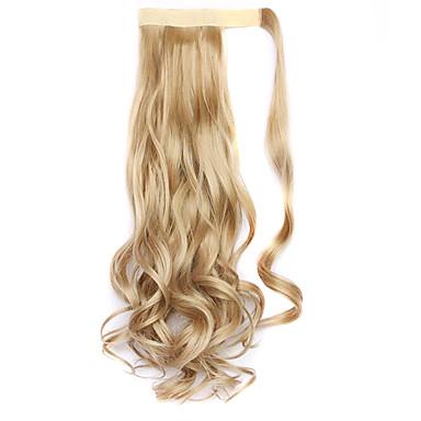 A Clipser Ondulé Bouclé Queue-de-cheval Enrouler autour Pièce de cheveux Extension des cheveux 18 pouces Blond de fraise