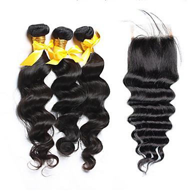 שיער Weft עם סגירה שיער ברזיאלי גלי משוחרר 18 חודשים 4 חלקים שוזרת שיער