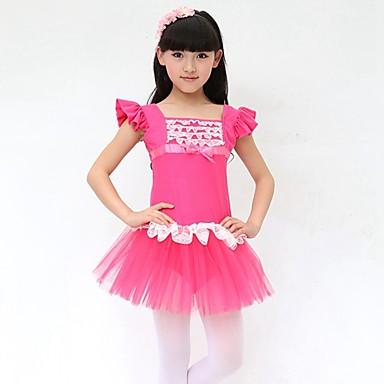 Danse classique Robes Enfant Spectacle Coton Nœud papillon 1 Pièce Sans manche Taille moyenne Robe