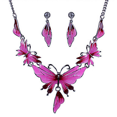 Mulheres Conjunto de jóias - Borboleta, Animal Europeu, Fashion, Importante Incluir Colar / Brincos Verde / Azul / Rosa claro Para Festa / Diário / Casual / Colares