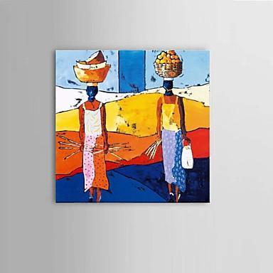 handbemalte abstrakte afrikanische Frauen Ölgemälde Wandkunst mit gestreckten Rahmen