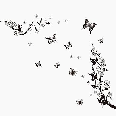 חיות טבע דומם אופנה פרחים בוטני וינטאג' Leisure מדבקות קיר מדבקות קיר מטוס מדבקות קיר דקורטיביות, PVC קישוט הבית מדבקות קיר קיר זכוכית /