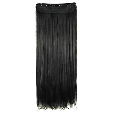 Perücke Verlängerung schwarz 64cm hohe Temperaturdrahtlänge glattes Haar Kunsthaar