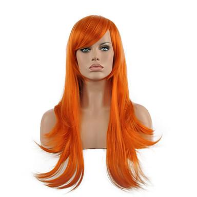 Synthetische Perücken Glatt Synthetische Haare Rot Perücke Damen Lang Kappenlos Orange
