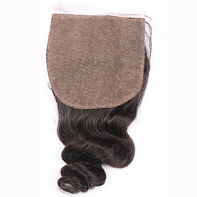 8 12 14 16 18 20inch Prirodno crna (#1B) Vezana rukom Valovita kosa Ljudske kose Zatvaranje srednje smeđa Švicarska mrežica 45 gram