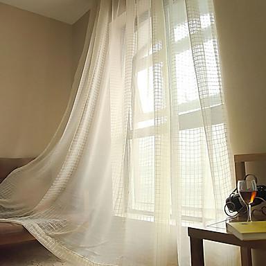 Barra no Interior Anéis Presilhas Duplo Plissado Único Plissado Dois Painéis Tratamento janela Modern, Jacquard Xadrez Sala de Estar