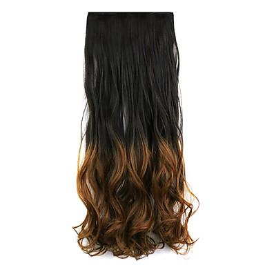 svart og brun lengde 60cm syntetisk gradient fem kort hår lang rett hår parykk (farge 2t30)