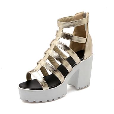 Elől kivágott Lábujj-Vastag-Női cipő-Szandál-Ruha-Bőrutánzat-Fekete / Fehér / Ezüst