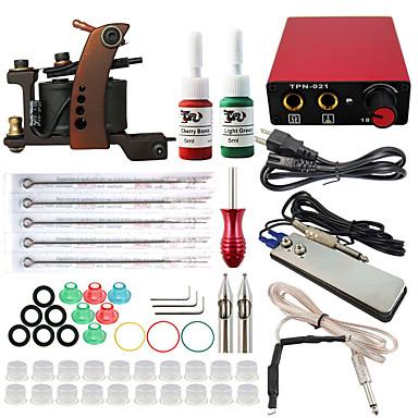 Starter Tattoo-Kits 1 x Stahl-Tattoomaschine für Umrißlinien und Schattierung Mini Stromversorgung 10 x Tattoonadeln RL 3 10 x
