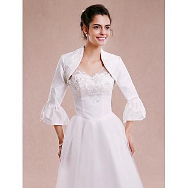 כיסויי גוף לנשים בולרו אורך שרוול 3/4 טפטה לבן חתונה מסיבה / ערב חרוזים