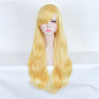Synthetische Haare Perücken Wellen Kappenlos Lang Blond