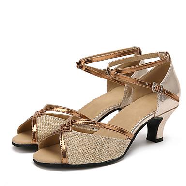 Pentru femei Latin Sclipici Spumant Paillertte Piele Originală Sintetic Sandale Adidași Călcâi Interior Sclipici Strălucitor Cataramă