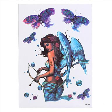 8pcs blaue Yoga-Engel Schönheit Frauen Männer Körperkunst Aufkleber wasserdicht temporäre Tätowierung Aufkleber weiße Feder Mädchen