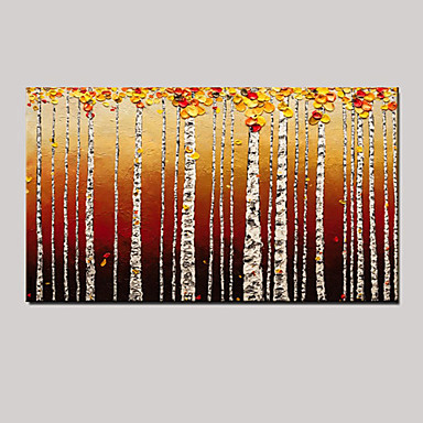 Peint à la main Paysage / Nature morte / Fantaisie Peintures à l'huile,Pastoral / Style européen Un Panneau ToilePeinture à l'huile