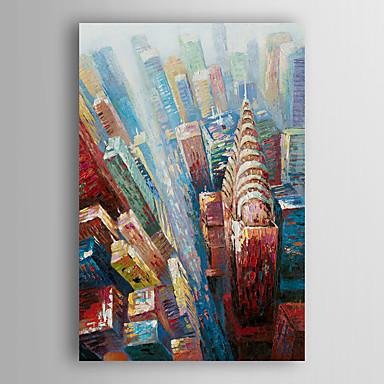 kézzel festett olajfestmény tájkép város épület feszített keret 7 fal arts®
