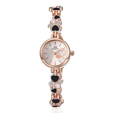 Damen Modeuhr Armband-Uhr Quartz Legierung Band Heart Shape Elegante Schwarz Weiß