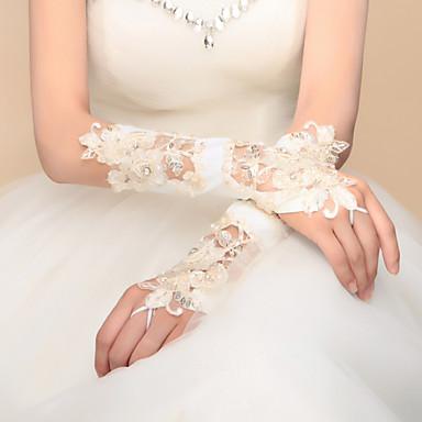 Até o Cotovelo Sem Dedos Com Dedos Luva Cetim Cetim Elástico Luvas de Noiva Luvas de Festa Primavera Verão Outono InvernoMiçangas