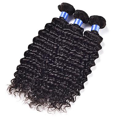 טווה שיער אדם שיער ברזיאלי גל עמוק 3 חלקים שוזרת שיער