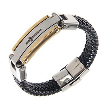 Homens Bracelete Moda Clássico Aço Inoxidável Pele Formato de Cruz Jóias Para Diário Casual 1peça