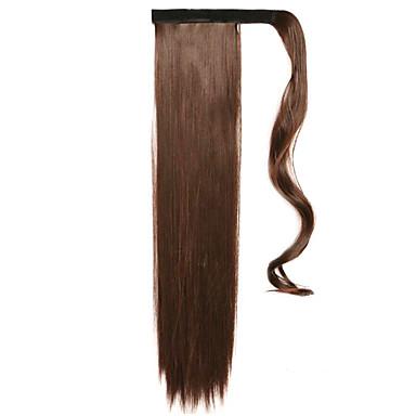 brun 60cm syntetisk høy temperatur wire parykk rett hår hestehale farge 4a / 33