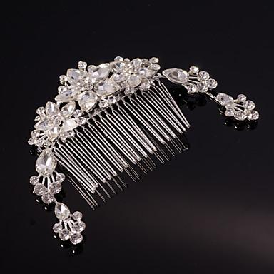sølv / gull blad blomst form krystall perle hår kammer for bryllupsfesten dame