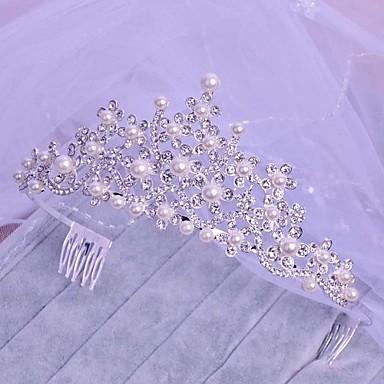 Kristall Imitation Perle Legierung Tiaras Kopfstück klassischen weiblichen Stil