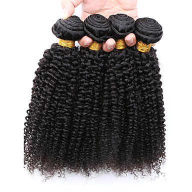 Cabelo Humano Ondulado Cabelo Peruviano Kinky Curly 12 meses 4 Peças tece cabelo