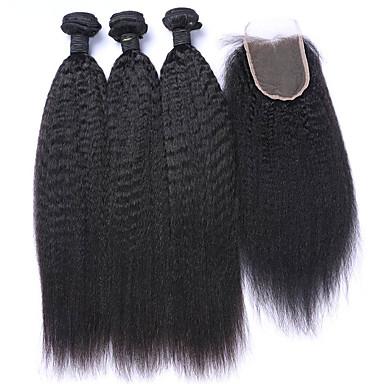 4 pacotes Cabelo Mongol Liso Cabelo Virgem Trama do cabelo com Encerramento Tramas de cabelo humano Extensões de cabelo humano