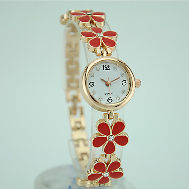 בגדי ריקוד נשים שעון צמיד שעוני אופנה קווארץ שעונים יום יומיים סגסוגת להקה פרח אלגנטי שחור לבן אדום ורוד