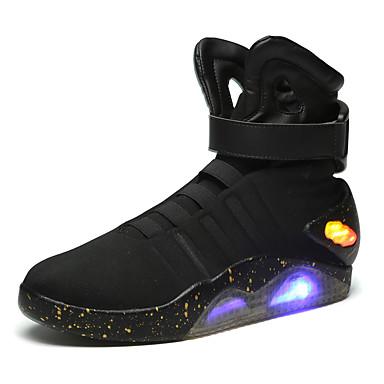 Herren Schuhe Künstliche Mikrofaser Polyurethan Herbst Winter Modische Stiefel Leuchtende LED-Schuhe Komfort Stiefel Mittelhohe Stiefel