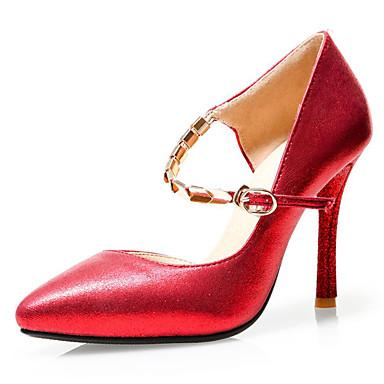 Damen Schuhe Kunstleder Frühling Sommer Pumps Stöckelabsatz für Hochzeit Party & Festivität Kleid Silber Rot Golden