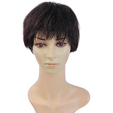 100% menneskelig hår parykk kort rett hår parykk temperament middelaldrende dame