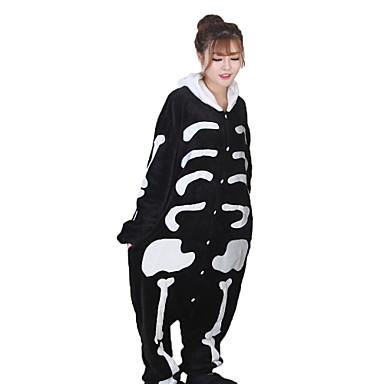 Kigurumi Pyjamas Skelet Spøgelse Heldragtskostumer Pyjamas Kostume Koralfleece Hvid Cosplay Til Voksne Nattøj Med Dyr Tegneserie Halloween