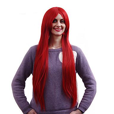 új cosplay hosszú, sötét piros, egyenes csúcsminőségű szintetikus paróka