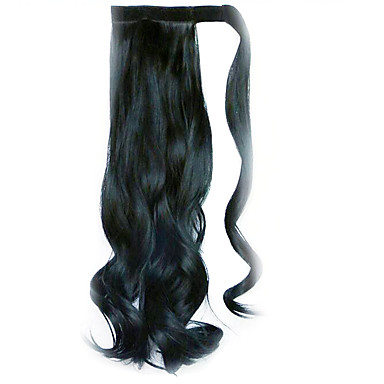 perruque noire 45cm synthétique fil à haute température prêle bouclés couleur 1