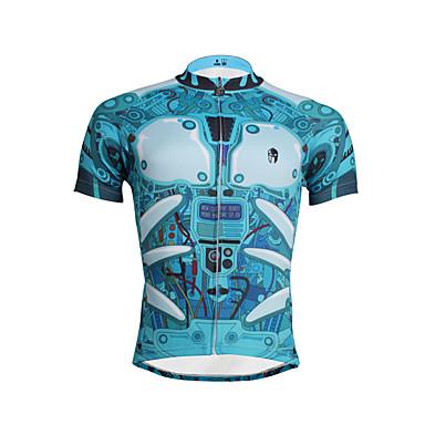 ILPALADINO Homens Manga Curta Camisa para Ciclismo - Azul Céu Moto Camisa / Roupas Para Esporte / Blusas, Secagem Rápida, Resistente