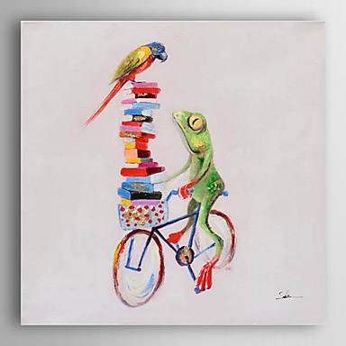handgemaltes Ölgemälde Tier Frosch ein Fahrrad mit gestreckten Rahmen 7 Wand ARTS® reiten