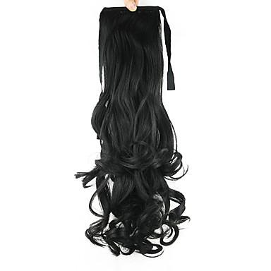Große Wellen Pferdeschwanz Synthetik Haarstück Haar-Verlängerung Schwarz