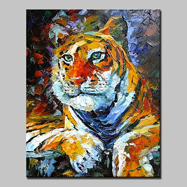 große Hand bemalt Tier Tiger König modernes Ölgemälde auf Leinwand ein Panel mit Rahmen fertig zum Aufhängen