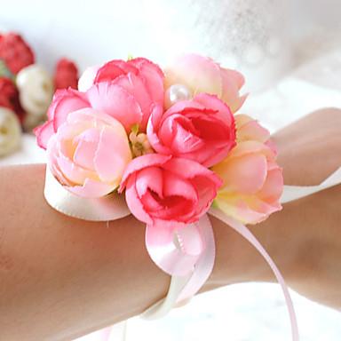 Bryllupsblomster Rund Roser Håndledscorsage Bryllup Fest & Aften Sateng Bomull Perle