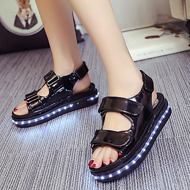 Damen Schuhe Kunstleder Sommer Leuchtende LED-Schuhe Flacher Absatz Ausgehöhlt Klettverschluss für Normal Schwarz