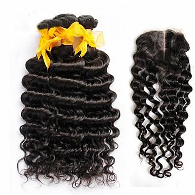 Πολλοί Μαλαισίας βαθύ κύμα σγουρά παρθένα τρίχα 4τεμ με το κλείσιμο των μη επεξεργασμένων ειδών 3Bundles Remy ανθρώπινα μαλλιά υφάδια με