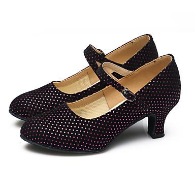 בגדי ריקוד נשים נעליים מודרניות נצנצים / סינטתי / קטיפה עקבים / נעלי ספורט פאייטים / קפלים / אסוף עקב קובני ללא התאמה אישית נעלי ריקוד