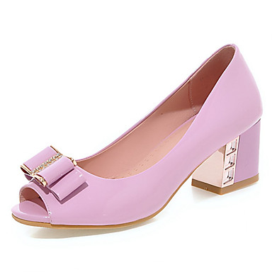 Femme / Fille Chaussures Cuir Verni Printemps / Eté Talon Bottier Noeud / Rivet / Paillette Brillante Violet / Rose / Amande / Habillé